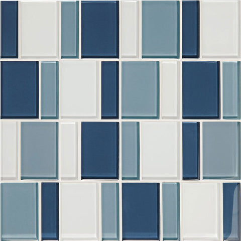 "American Olean Color Appeal Renewal Blue Moon 3"" Block Glass Mosaic"