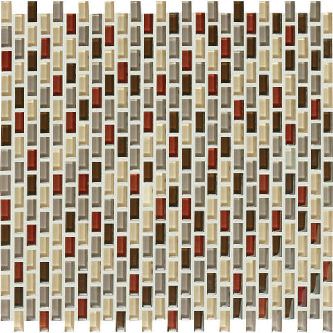 American Olean Color Appeal Renewal Earth Fire 3/8 X 3/4 Chain-Link Glass Mosaic