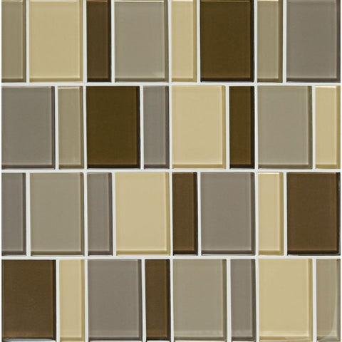 "American Olean Color Appeal Renewal Pecan Grove 3"" Block Glass Mosaic"