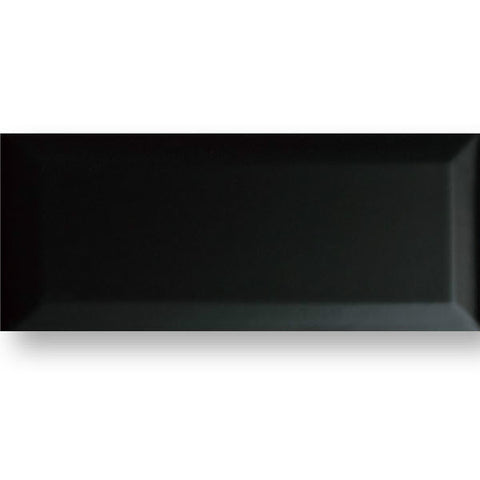 "Color Collection Beveled 4-1/4""X10"" Black Bright Wall Tile"