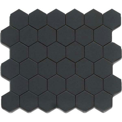 "CC Mosaics 12""X12"" Black Matte Glazed 2X2 Hexagon Mosaic"