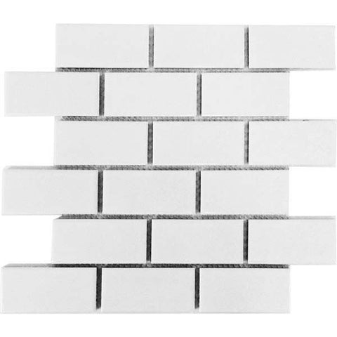 U.S. Ceramic Tile Flooring Bright Snow White Brick 12 in. x 12 in. x 6 mm Ceramic Mosaic Tile U072-12M - American Fast Floors