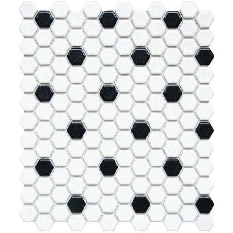 "CC Mosaics 12""X12"" White & Black Matte Glazed 1X1 Hexagon Mosaic"