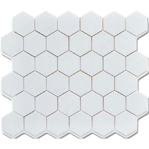 "CC Mosaics 12""X12"" White Matte Glazed 2X2 Hexagon Mosaic"