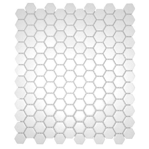 "CC Mosaics 12""X12"" White Matte Glazed 1X1 Hexagon Mosaic"