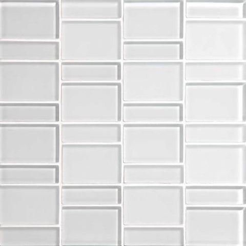 "Daltile Color Wave 12"" x 12"" Ice White Random Block Mosaic Tile - American Fast Floors"