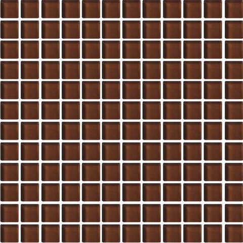 "Daltile Color Wave 1"" x 1"" Root Beer Mesh Mounted Wall Tile"