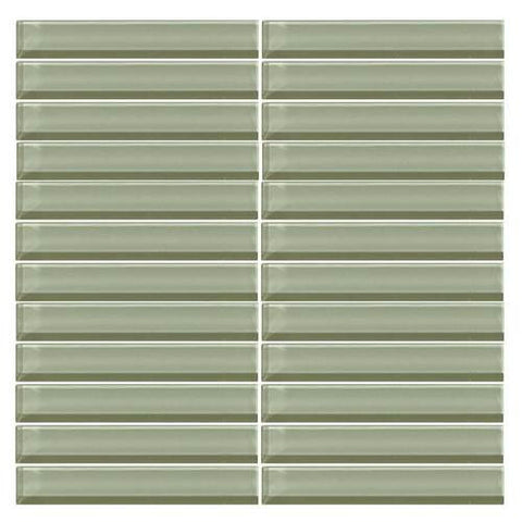 "Daltile Color Wave 1"" x 6"" Green Parade Straight-Joint Mosaic Tile"