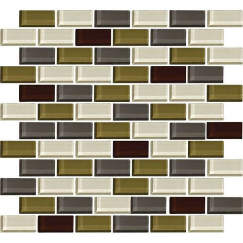 "Daltile Color Wave 2"" x 1"" Autumn Trail Blend Brick Joint Blend Mosaic Tile"