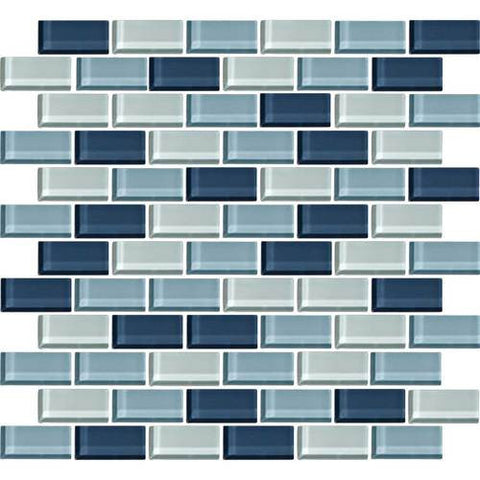 "Daltile Color Wave 2"" x 1"" Winter Blues Blend Brick Joint Blend Mosaic Tile"