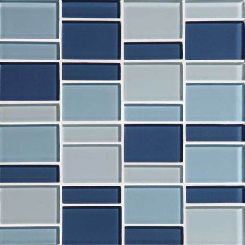 "Daltile Color Wave 12"" x 12"" Winter Blues Blend Random Block Blend Mosaic Tile"