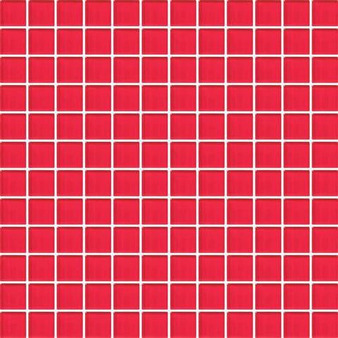"Daltile Color Wave 1"" x 1"" Red Hot Mesh Mounted Wall Tile"