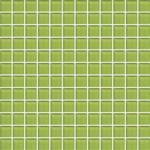 "Daltile Color Wave 1"" x 1"" Lime Glow Mesh Mounted Wall Tile"