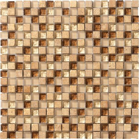 "Marazzi Crystal Stone 12""x12"" Caramel Mesh Mounted Square Mosaic - American Fast Floors"