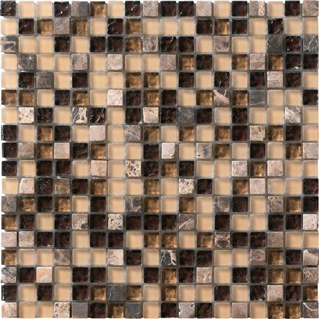 "Marazzi Crystal Stone 12""x12"" Coffee Mesh Mounted Square Mosaic"
