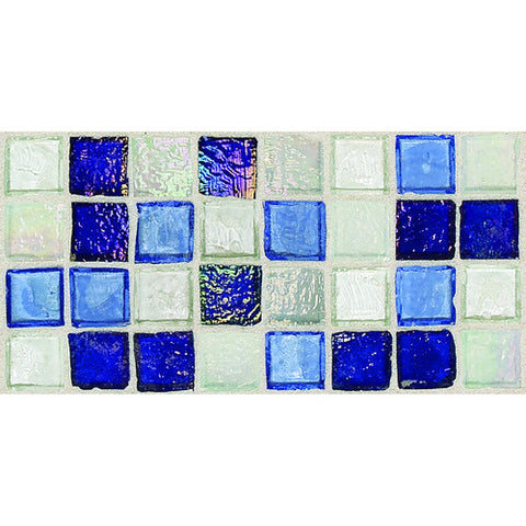 "Daltile Egyptian Glass 12"" x 12"" Sapphire Collage Mosaic"