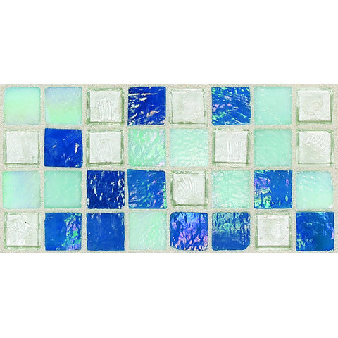 "Daltile Egyptian Glass 12"" x 12"" Blue Pearl Mix Mosaic"
