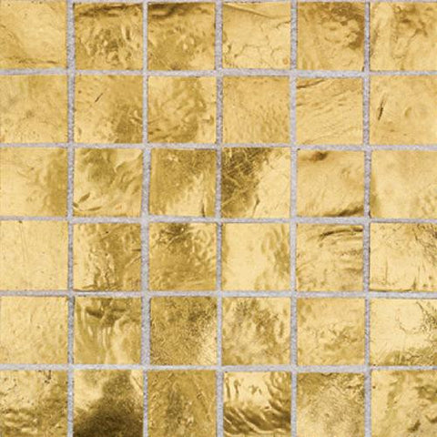 "Daltile Elemental Glass 12"" x 12"" Gold Nugget Mosaic"