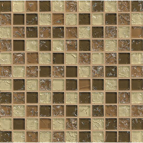 Bedrosians Ice Crackle Glass Mosaic Brown - American Fast Floors