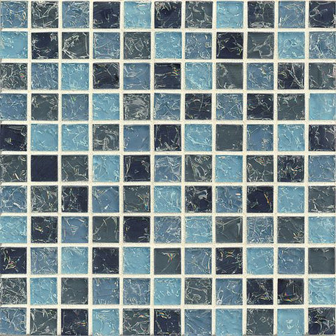Bedrosians Ice Crackle Glass Mosaic Blue