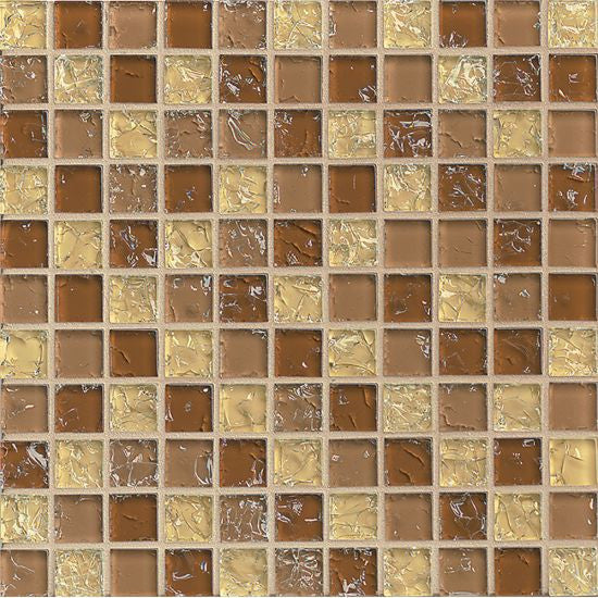 Bedrosians Ice Crackle Glass Mosaic Tan - American Fast Floors