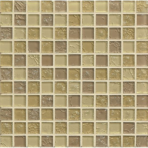Bedrosians Ice Crackle Glass Mosaic Cream - American Fast Floors