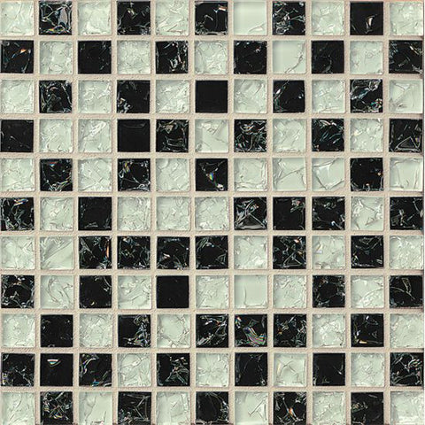 Bedrosians Ice Crackle Glass Mosaic Black