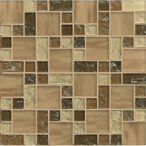 Bedrosians Ice Crackle Glass Mosaic Brown