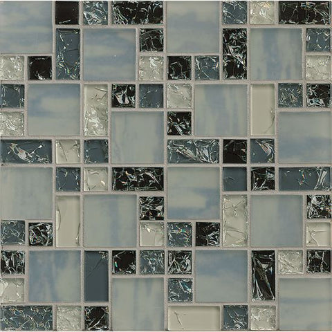 Bedrosians Ice Crackle Glass Mosaic Gray - American Fast Floors
