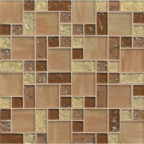 Bedrosians Ice Crackle Glass Mosaic Tan