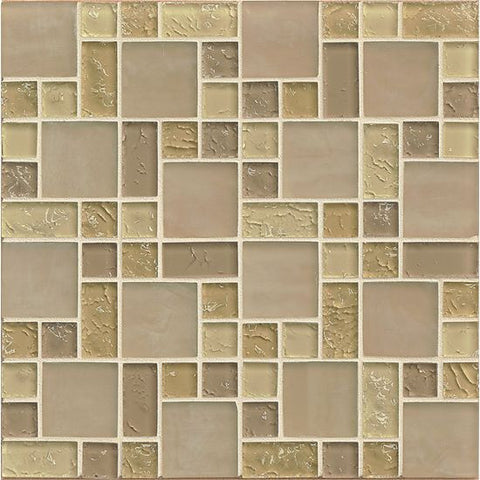 Bedrosians Ice Crackle Glass Mosaic Cream