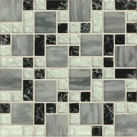 Bedrosians Ice Crackle Glass Mosaic Black - American Fast Floors