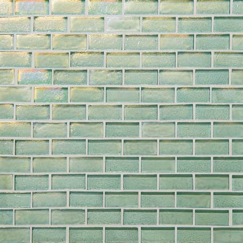 American Olean Garden Oasis 3/4 x 1-1/2 Light Fern Green Brick-Joint Mosaic