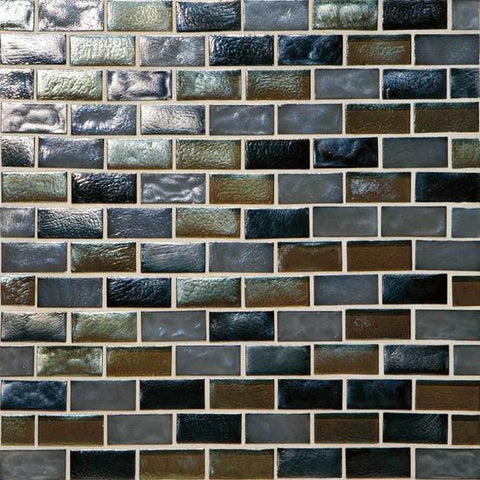 American Olean Garden Oasis 3/4 x 1-1/2 Evening Fields Brick-Joint Mosaic Blend