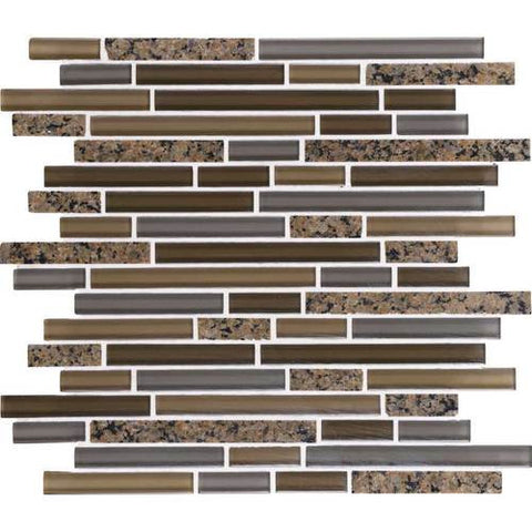 "Daltile Granite Radiance 12"" x 13-3/4"" Tropical Brown Blend Random Mosaic"
