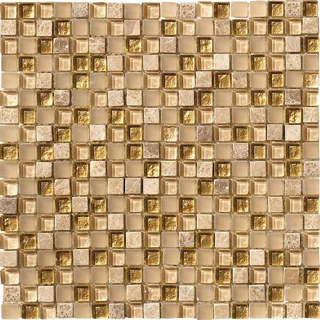 "Marazzi Crystal Stone 12""x12"" Gold Mesh Mounted Square Mosaic - American Fast Floors"