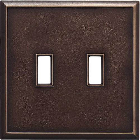 "Daltile Ion Metals 5"" x 5.07"" Antique Bronze Double Toggle Switch Plate - American Fast Floors"