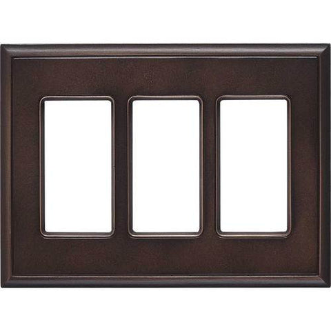 "Daltile Ion Metals 5"" x 6.80"" Antique Bronze Triple GFCI Switch Plate"