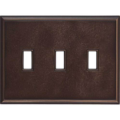 "Daltile Ion Metals 5"" x 6.80"" Antique Bronze Triple Toggle Switch Plate"