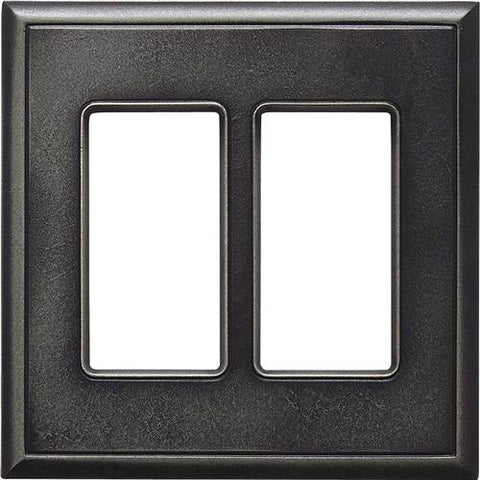 "Daltile Ion Metals 5"" x 5.07"" Antique Nickel Double GFCI Switch Plate - American Fast Floors"