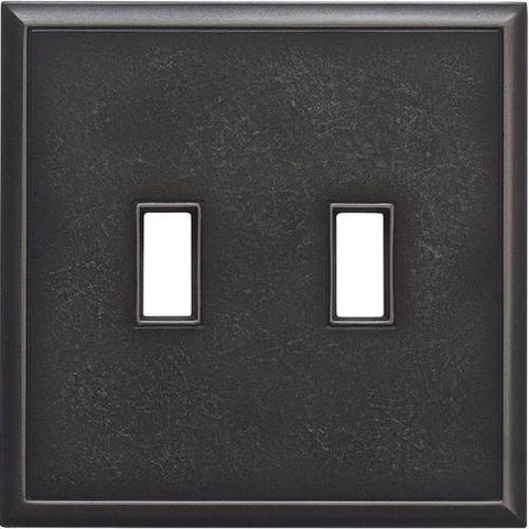 "Daltile Ion Metals 5"" x 5.07"" Antique Nickel Double Toggle Switch Plate"