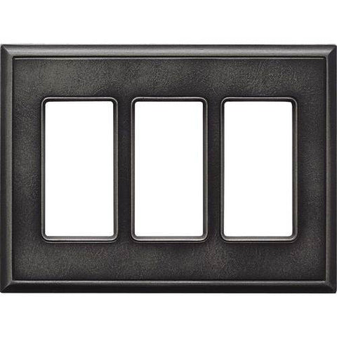"Daltile Ion Metals 5"" x 6.80"" Antique Nickel Triple GFCI Switch Plate"