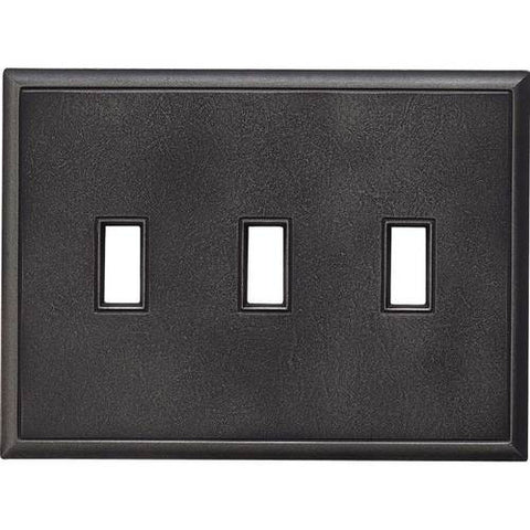 "Daltile Ion Metals 5"" x 6.80"" Antique Nickel Triple Toggle Switch Plate - American Fast Floors"
