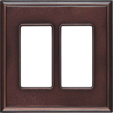 "Daltile Ion Metals 5"" x 5.07"" Oil Rubbed Bronze Double GFCI Switch Plate - American Fast Floors"