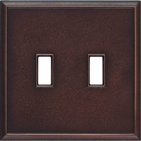 "Daltile Ion Metals 5"" x 5.07"" Oil Rubbed Bronze Double Toggle Switch Plate - American Fast Floors"