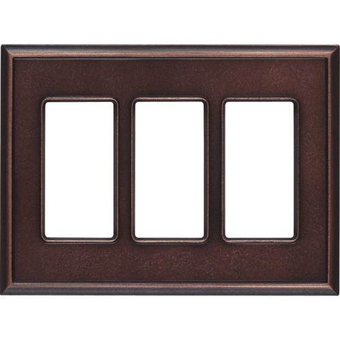 "Daltile Ion Metals 5"" x 6.80"" Oil Rubbed Bronze Triple GFCI Switch Plate"