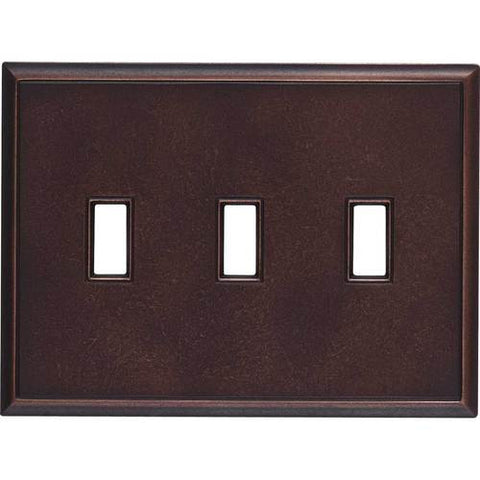 "Daltile Ion Metals 5"" x 6.80"" Oil Rubbed Bronze Triple Toggle Switch Plate - American Fast Floors"