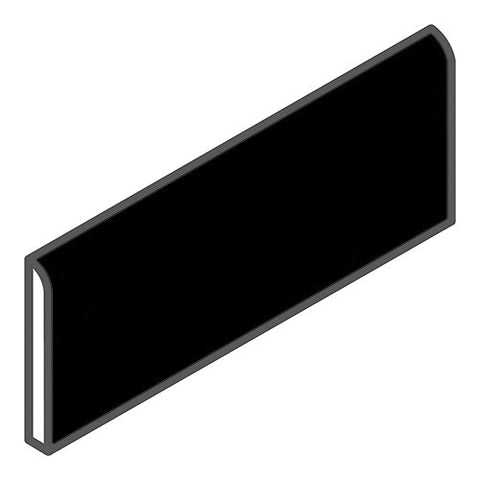 "Daltile Modern Dimensions 2-1/8 x 8-1/2 Gloss Black Bullnose - 8-1/2"" Side"