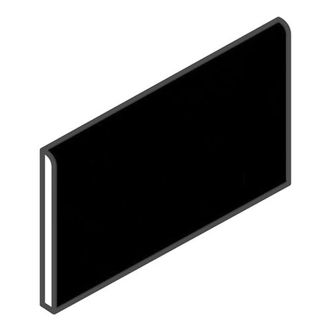 "Daltile Modern Dimensions 4-1/4 x 8-1/2 Gloss Black Wall Bullnose - 4-1/4"" Side"