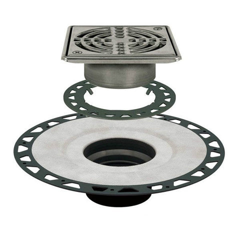 "KERDI-DRAIN Kit 6"" Square Stainless Steel Grate - ABS Flange with 2"" Drain Outlet"